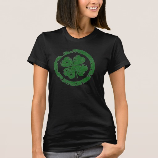 Circled 4 Leaf Clover Women's American Apparel Fine Jersey T-Shirt