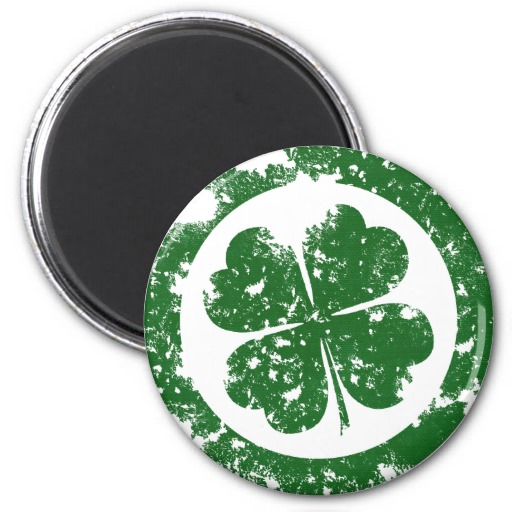 Lucky Clover 2 Inch Round Magnet