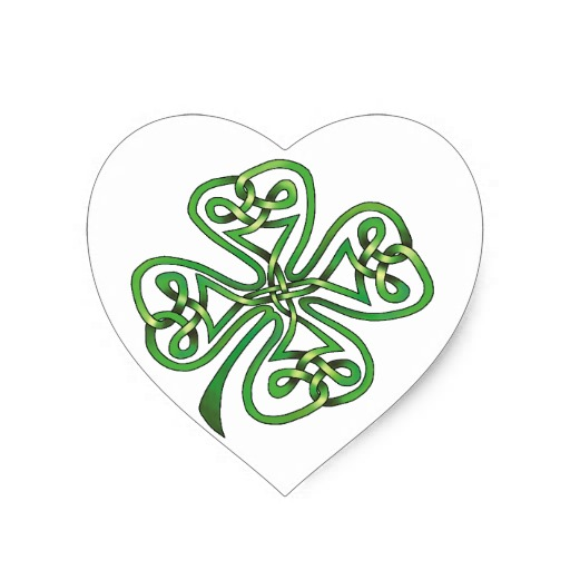 Four-Leaf Clover Heart Sticker