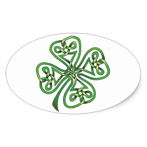 Four-Leaf Clover Oval Sticker
