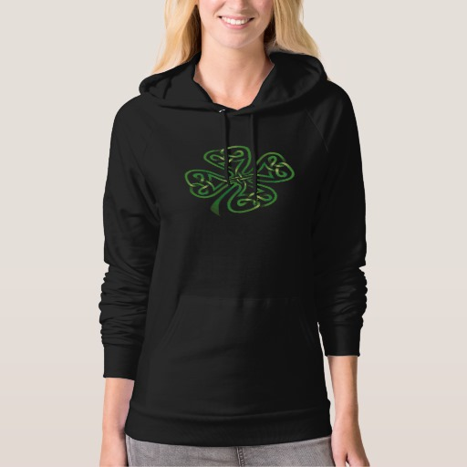 Twisting Four Leaf Clover American Apparel California Fleece Pullover Hoodie