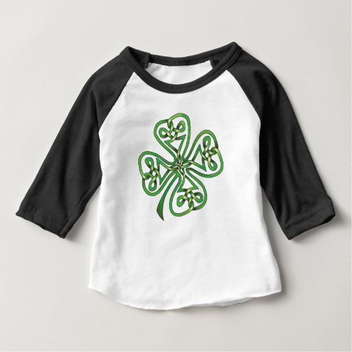 Twisting Four Leaf Clover Baby American Apparel 3/4 Sleeve Raglan T-Shirt