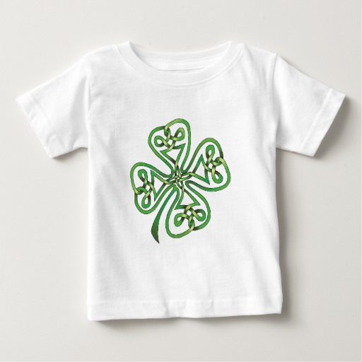 Twisting Four Leaf Clover Baby Fine Jersey T-Shirt