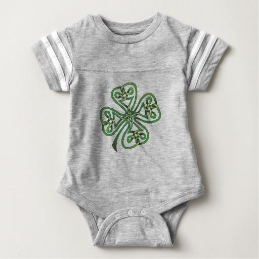 Twisting Four Leaf Clover Baby Football Bodysuit