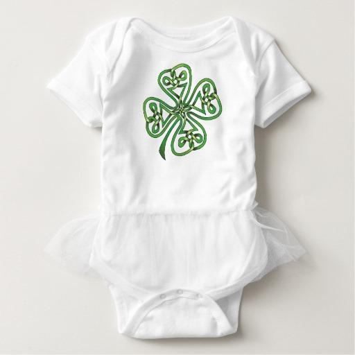 Twisting Four Leaf Clover Baby Tutu Bodysuit