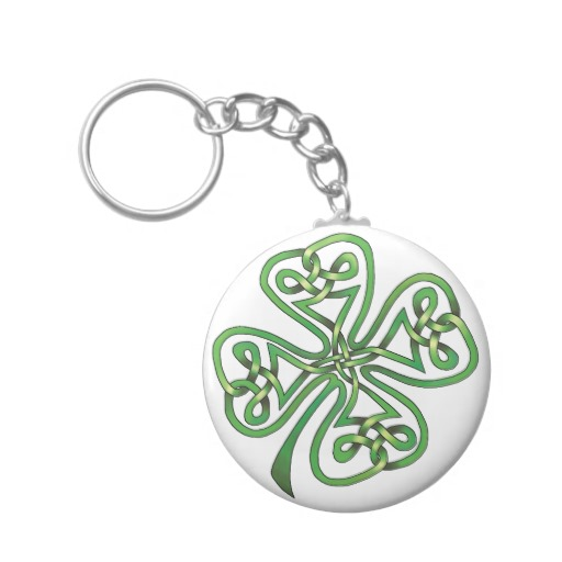 Twisting Four Leaf Clover Basic Button Keychain