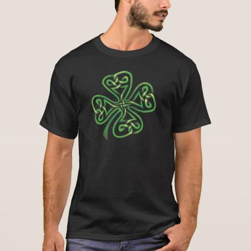 Twisting Four Leaf Clover Basic Dark T-Shirt