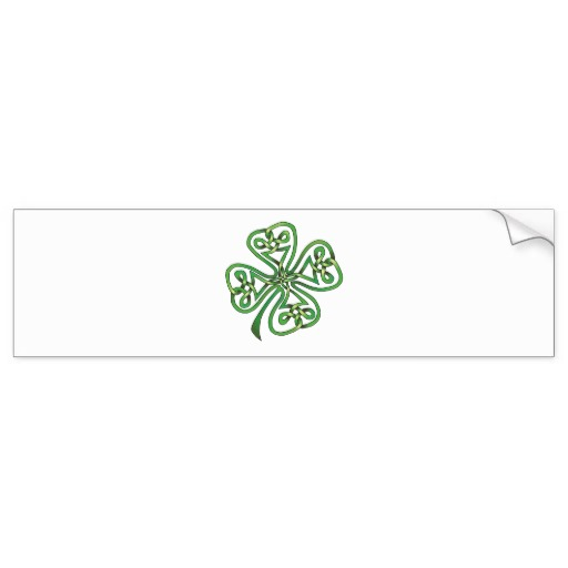 Twisting Four Leaf Clover Bumper Sticker