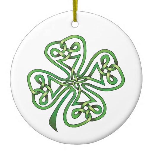 Twisting Four Leaf Clover Circle Ornament