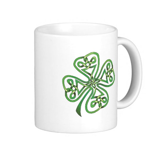Twisting Four Leaf Clover Classic White Mug