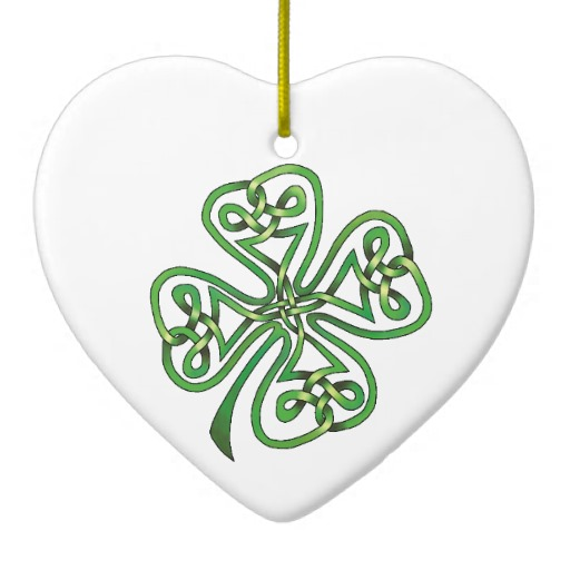 Twisting Four Leaf Clover Heart Ornament