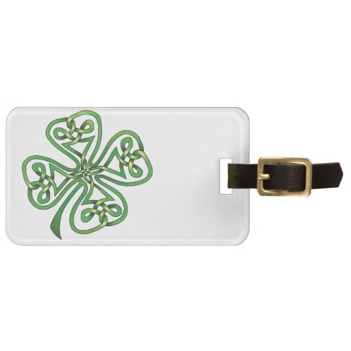 Twisting Four Leaf Clover Luggage Tag w/ leather strap