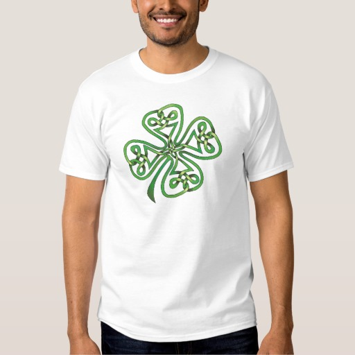 Twisting Four Leaf Clover Men's Basic T-Shirt
