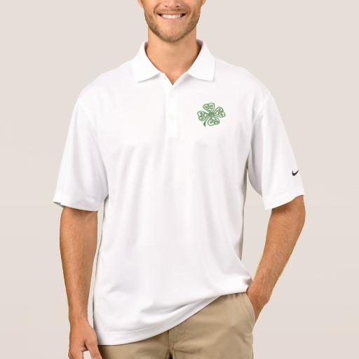 Twisting Four Leaf Clover Men's Nike Dri-FIT Pique Polo Shirt