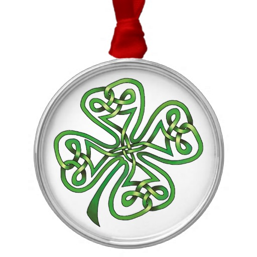 Twisting Four Leaf Clover Premium Round Ornament