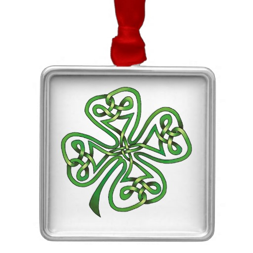 Twisting Four Leaf Clover Premium Square Ornament