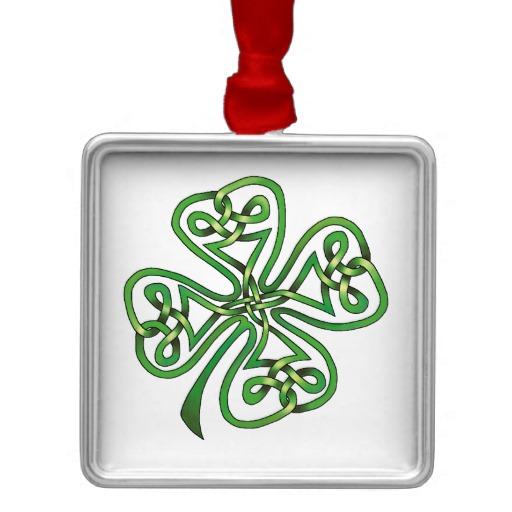 Twisting Four Leaf Clover Premium Square Ornament