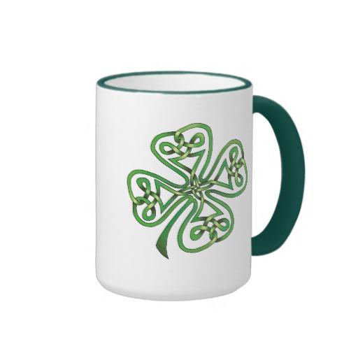 Twisting Four Leaf Clover Ringer Mug