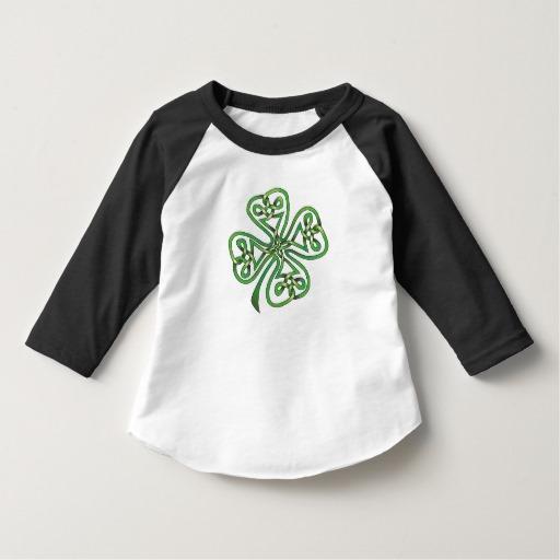 Twisting Four Leaf Clover Toddler American Apparel 3/4 Sleeve Raglan T-Shirt