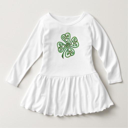 Twisting Four Leaf Clover Toddler Ruffle Dress