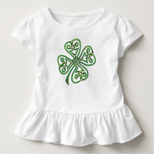 Twisting Four Leaf Clover Toddler Ruffle Tee