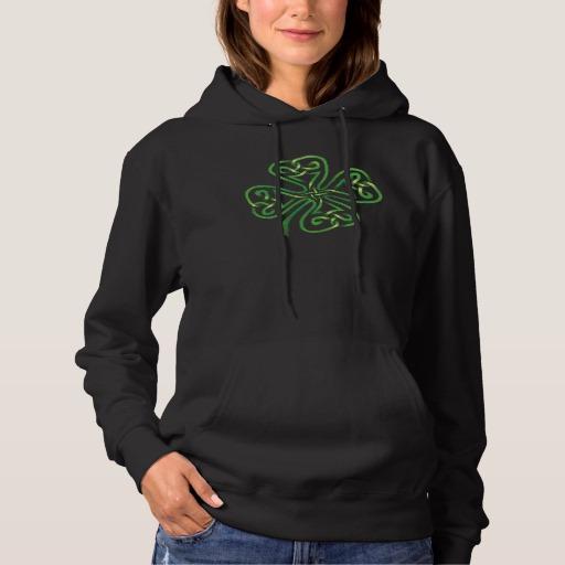 Twisting Four Leaf Clover Women's Basic Hooded Sweatshirt