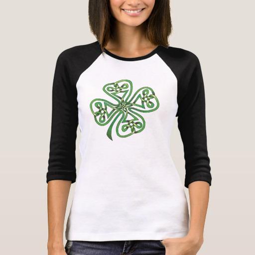 Twisting Four Leaf Clover Women's Bella+Canvas 3/4 Sleeve Raglan T-Shirt