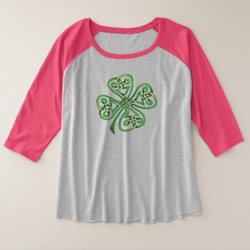 Twisting Four Leaf Clover Women's Plus-Size 3/4 Sleeve Raglan T-Shirt