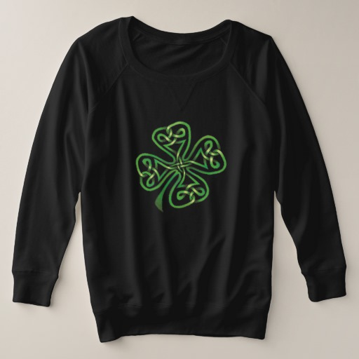 Twisting Four Leaf Clover Women's Plus-Size French Terry Sweatshirt