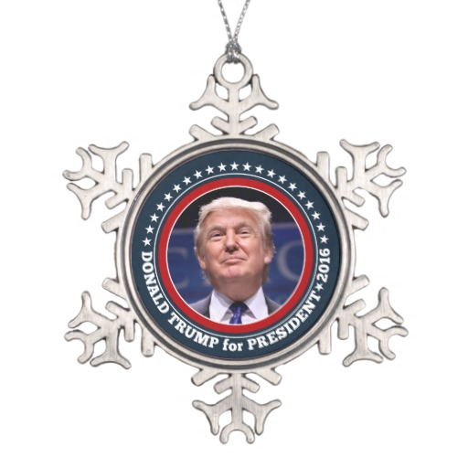 Donald Trump for President 2016 Pewter Snowflake Ornament