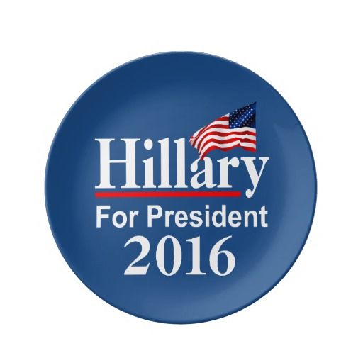 "Hillary For President 2016 8.5"" Decorative Porcelain Plate"