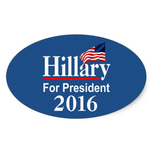 Hillary For President 2016 Oval Sticker