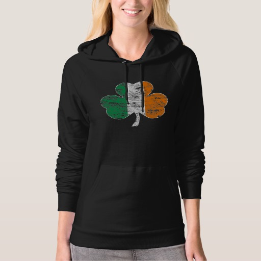 Distressed Irish Flag Shamrock American Apparel California Fleece Pullover Hoodie
