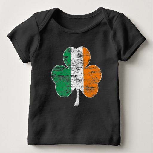 Distressed Irish Flag Shamrock Baby American Apparel Lap T-Shirt