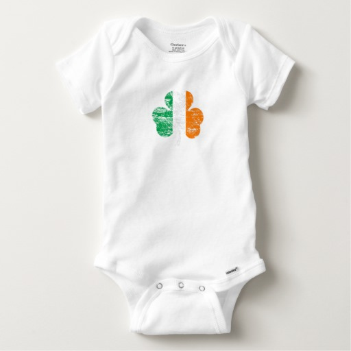 Distressed Irish Flag Shamrock Baby Gerber Cotton Onesie