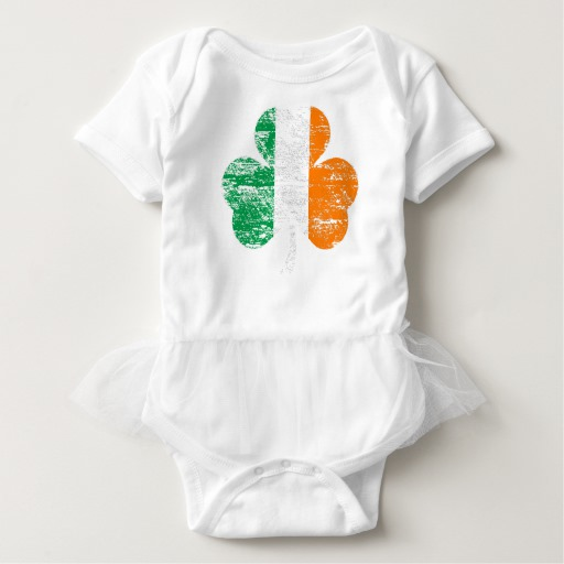 Distressed Irish Flag Shamrock Baby Tutu Bodysuit