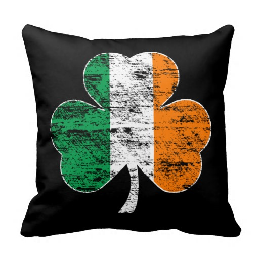 Distressed Irish Flag Shamrock Couch Pillow