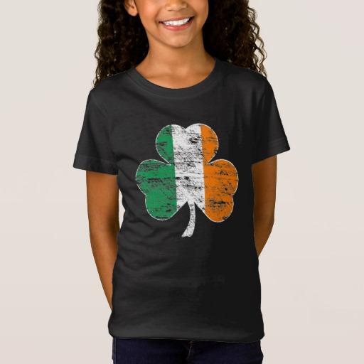 Distressed Irish Flag Shamrock Girls' Fine Jersey T-Shirt