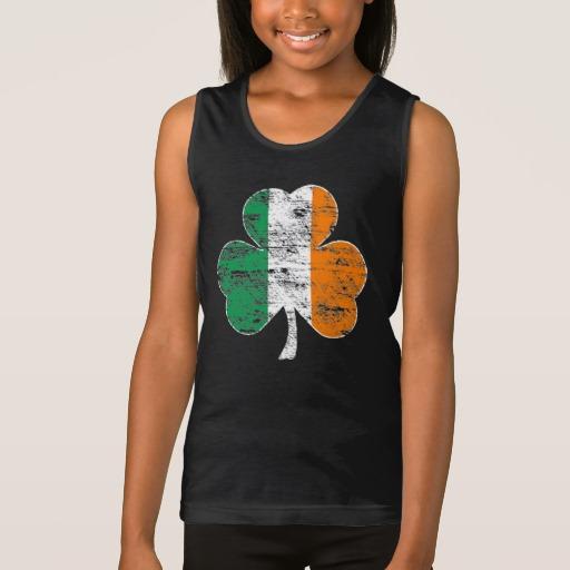 Distressed Irish Flag Shamrock Girls' Fine Jersey Tank Top