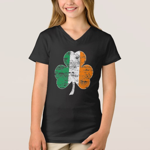 Distressed Irish Flag Shamrock Girls' Fine Jersey V-Neck T-Shirt