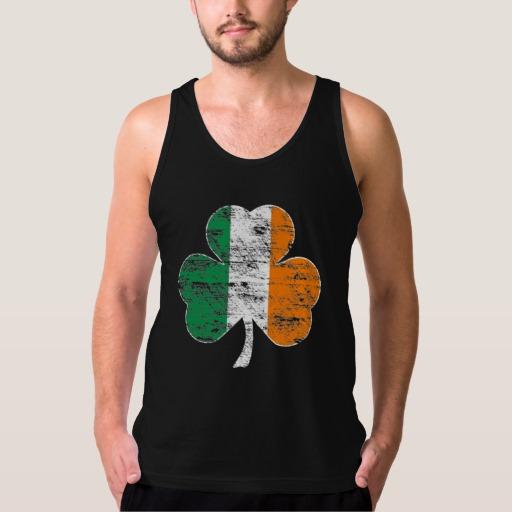 Distressed Irish Flag Shamrock Men's American Apparel Fine Jersey Tank Top