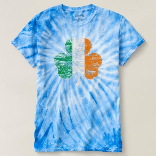 Distressed Irish Flag Shamrock Men's Cyclone Tie-Dye T-Shirt