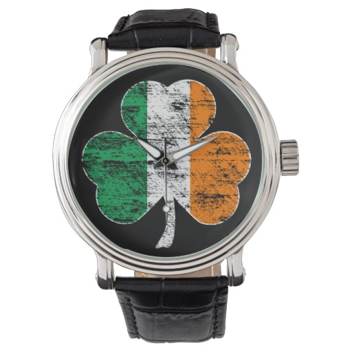 Distressed Irish Flag Shamrock Men's Vintage Black Leather Strap Watch