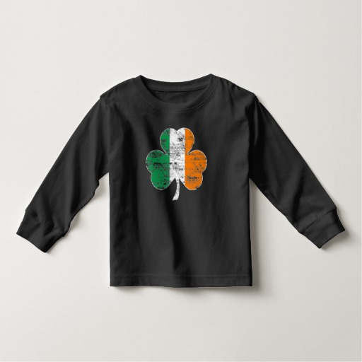 Distressed Irish Flag Shamrock Toddler Long Sleeve T-Shirt