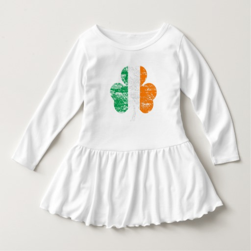 Distressed Irish Flag Shamrock Toddler Ruffle Dress