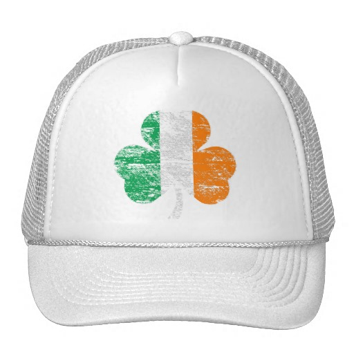 Distressed Irish Flag Shamrock Trucker Hat