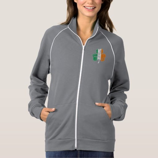 Distressed Irish Flag Shamrock Women's American Apparel California Fleece Track Jacket