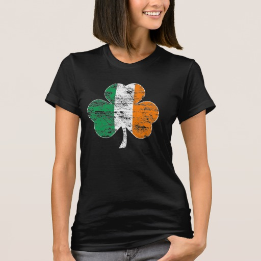 Distressed Irish Flag Shamrock Women's American Apparel Fine Jersey T-Shirt
