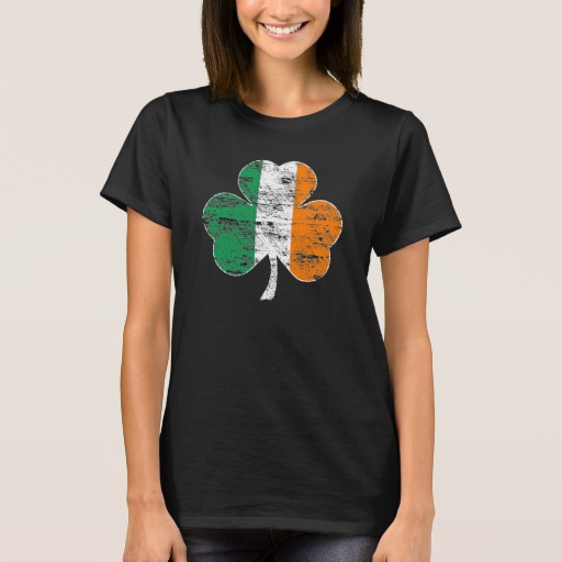 Distressed Irish Flag Shamrock Women's Basic T-Shirt