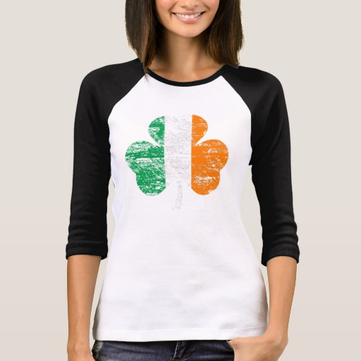 Distressed Irish Flag Shamrock Women's Bella+Canvas 3/4 Sleeve Raglan T-Shirt